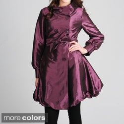 CoffeeShop Juniors Iridescent Graphite Double Breasted Trench Coat
