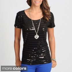 Hanna & Gracie Women's Black Sequin Striped Top