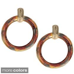 Kenneth Jay Lane Tortoise or Golden Hoop Earrings
