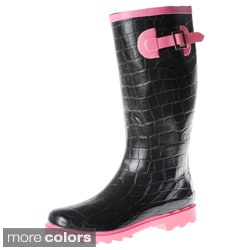 Henry Ferrera Women&#39;s Croc Embossed Rubber Rain Boots