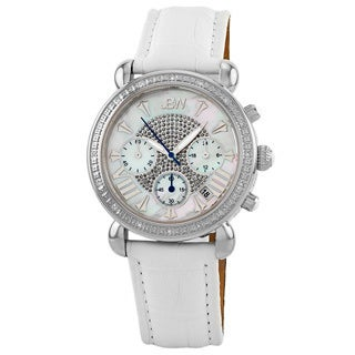 JBW Women's White Leather Stainless Steel Diamond Watch