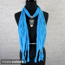 Fashion Jewelry Scarf with Silvertone Owl Pendant