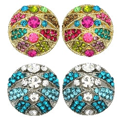Kate Marie Rhinestone Round Art Deco Fashion Earrings