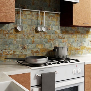 SomerTile 11.75x11.75-inch Ridge Subway Sunset Slate Mosaic Floor and Wall Tile (Case of 5)