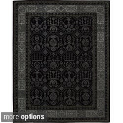 Hand-tufted Floral Regal Black Rug