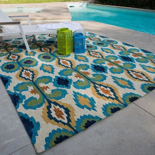 Indoor/ Outdoor Hand-hooked Portia Ivory/ Blue Rug (7'6 x 9'6)
