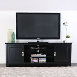 Black 70-inch Wood TV Stand with Sliding Doors