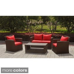 International Caravan St. Lucia Resin/ Aluminum Settee Set with Corded Cushions (Set of 4)