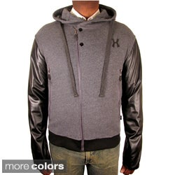 Hudson Outerwear Men's 'Moto' Fleece Leather Sleeve Hoodie