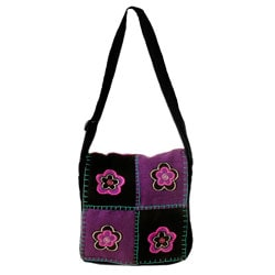 Purple Cotton Flower Patch Bag (Nepal)
