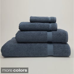 Authentic Plush Herringbone Weave Hotel and Spa Turkish Cotton 4-piece Bath Set