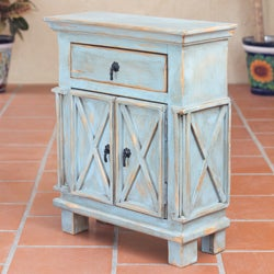 Handcrafted Pinewood 'Antique Blue Crisscross' Nightstand (Mexico)