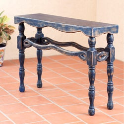 Handcrafted Pinewood 'Hidalgo Royal Blue' Console Table (Mexico)