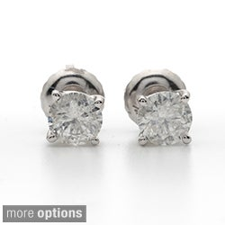 14k White Gold 1 to 3ct TDW Clarity Enhanced Screw-back Diamond Earrings (I-J, I2-I3)