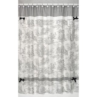 Black French Toile Shower Curtain