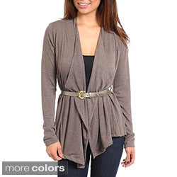 Stanzino Women's Open Front Belted Cardigan