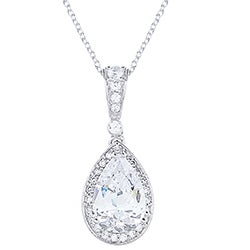 Blue Box Jewels Rhodiumplated Silver Cubic Zirconia Teardrop Necklace