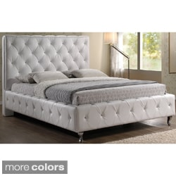 Stella Crystal Tufted White Modern Bed with Upholstered Headboard