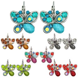 Kate Marie Vintage Rhinestone-accented Butterfly Earrings
