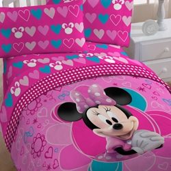 Minnie &#39;Fuschia Hearts&#39; 5-piece Bed in a Bag with Sheet Set
