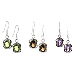 Handmade Sterling Silver Faceted Gemstone Earrings (India)