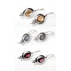 Handcrafted Sterling Silver Faceted Gemstone Earrings (India)