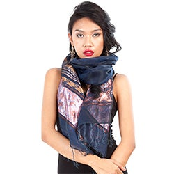 Elegant Navy Blue Silky Assorted Scarf (Indonesia)