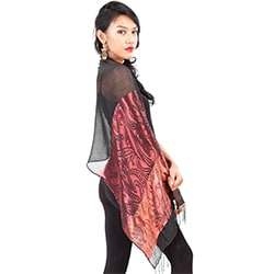 Elegant Black Silky Assorted Scarf (Indonesia)