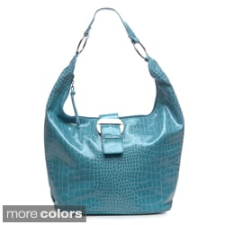 Valencia Croco Bucket Hobo Handbag