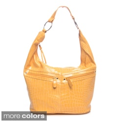 Valencia Faux-Crocodile Embossed Bucket Hobo Handbag