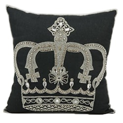 Mina Victory Luminecence Beaded Crown Black 16 x 16-inch Decorative Pillow by Nourison