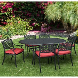 Black Cast Aluminum 7-piece Dining Set with Cushions