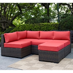 Espresso Rattan Patio Sectional with Cushions