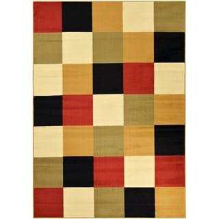 Paterson Collection Checkered Multi-color Area Rug (8'2 x 9'10)