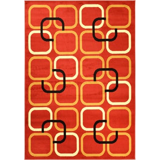 Paterson Collection Abstract Red Area Rug (8'2 x 9'10)