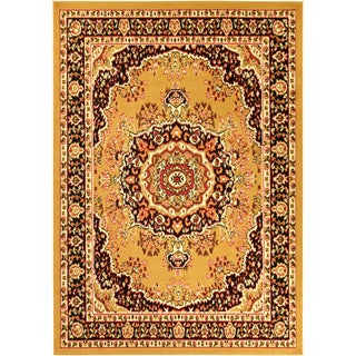 Paterson Collection Oriental Medallion Gold Area Rug (5' x 7')