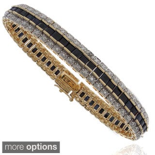 Dolce Giavonna 18k Gold Overlay Sapphire and Diamond Accent Tennis Bracelet
