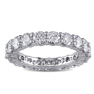 Miadora Signature Collection Platinum 3ct TDW Diamond Eternity Ring (F, VVS)