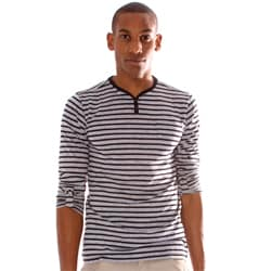 191 Unlimited Men's Slim Fit Striped Henley Tee