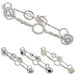 Gem Jolie Silver Overlay Gemstone and Diamond Accent Circle Link Bracelet