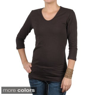 Fashion Corner Women's Layering Three Quarter Sleeve Tee