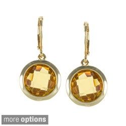 Carolee Round Bezel Cubic Zirconia Drop Earrings