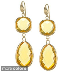 Rivka Friedman Bold Double Crystal Dangle Earrings