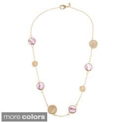 Rivka Friedman Bezel Gem and Concave Pebble Necklace
