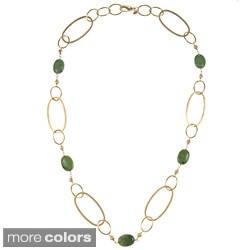 Rivka Friedman Gold Overlay Mix Link Gemstone Necklace