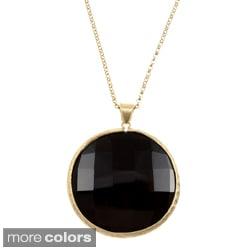 Rivka Friedman 36-inch Bold Round Gemstone Pendant Necklace