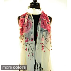 Pashmina/ Silk &#39;Spring Time Flowers&#39; Fashion Scarf