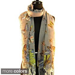 Pashmina/ Silk &#39;Multi Coloured Butterflies&#39; Fashion Scarf
