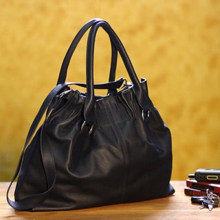 Leather 'Nocturnal Black' Hobo Handbag (Peru)