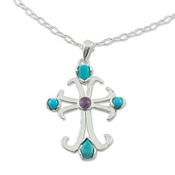 Sterling Silver 'Belief' Turquoise and Amethyst Necklace (Mexico)